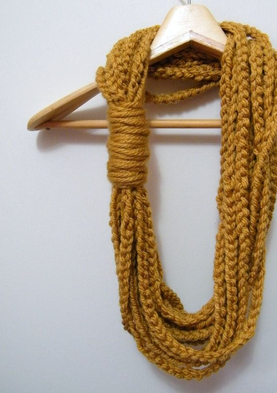 Crocheted Infinity Scarf Necklace in Mustard Yellow. via Etsy.