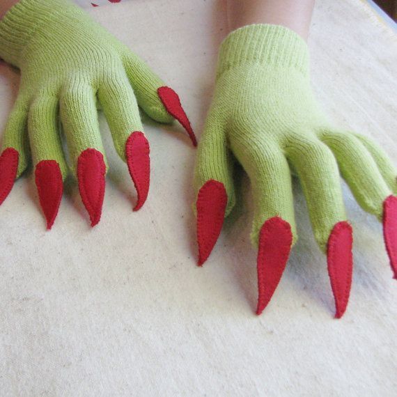 Gloves with claws green and red for Halloween by SnippetFairy, $ 15.00