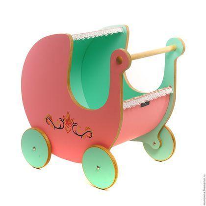 Детская ручной работы. Ярмарка Мастеров - ручная работа. Купить Коляска для кукол (хранение игрушек) из дерева. Handmade. Розовый