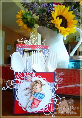 """Picnic Utensil Caddy with Magnolia-licious """"Hip Hurray Tilda"""" colored with Copics by Suzanne J Dean Scrap Bitz: Fireworks Today!!  #magnolia #magnolia-licious #copics #cards #crafts #homedecor #diy"""