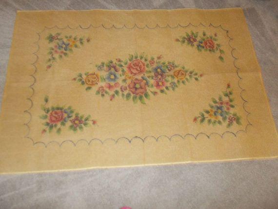 Vintage gran pestillo gancho alfombra tela Floral 63 x 41