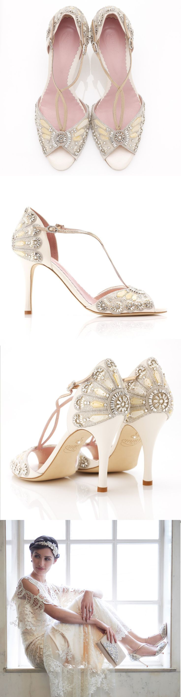 Beautiful vintage bridal sandals embellished in crystal and mother of pearl shell embroidery.