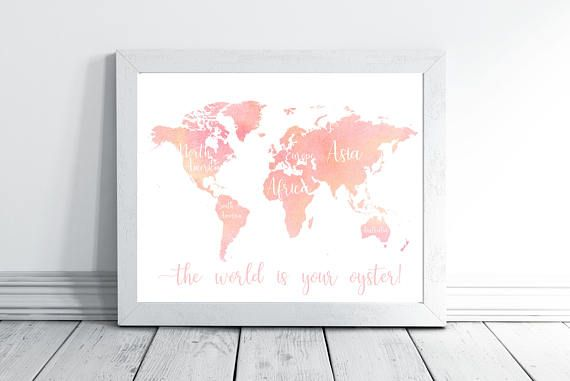 Pink World Map with Continents for baby girl nursery decor.
