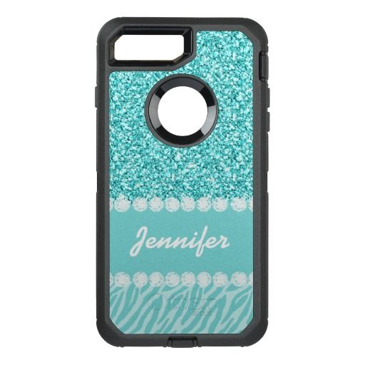 Girly, Teal Glitter, Zebra Stripes OtterBox Defender iPhone 7 Plus Case