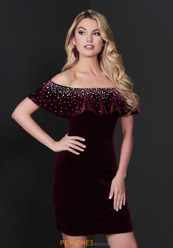 dc65659fdd6 Stay classy yet trendy in this mesmerizing short Tiffany dress. Style 27231  showcases an off the shoulder neckline designed with a ruffle top that is  ...