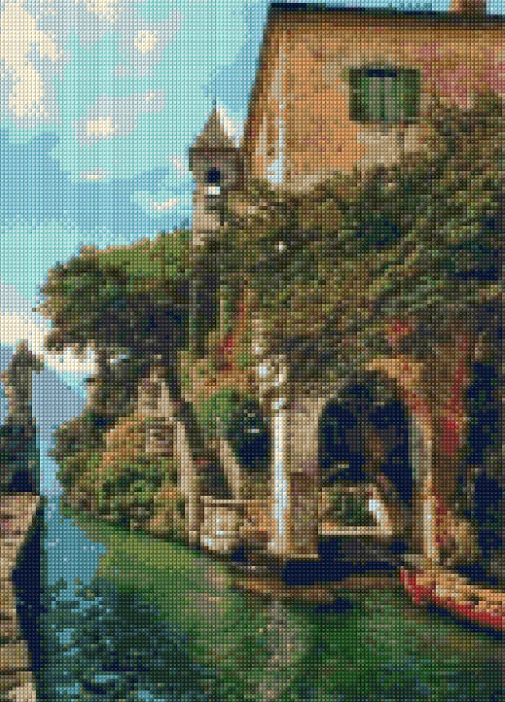 Lake Como Italy landscape Cross Stitch pattern PDF - Instant Download! by PenumbraCharts on Etsy