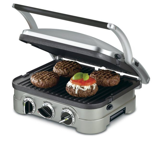 "best indoor electric grill - Cuisinart GR-4N 5-in-1 Griddler. This Cuisinart unit has become the go-to indoor electric grill in recent years, and for good reasons. It's the most versatile contact grill on the market because its construction allows it to do much more than its competitors; that's what the ""5-in-1"" is all about."