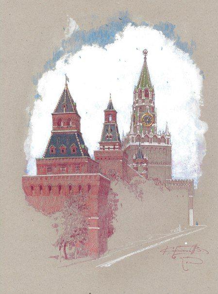 """Денис Коробков """"Башни Кремля"""" 40х30 см картон, темпера, пастель 2015 г."""