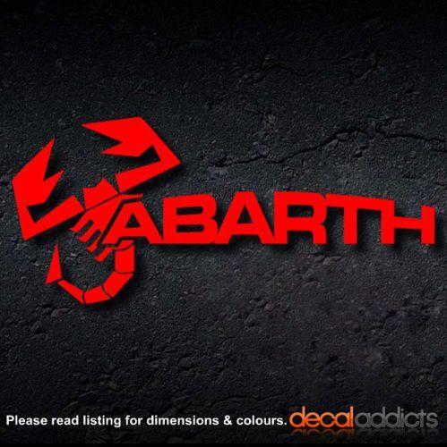 Abarth scorpion logo text vinyl decal sticker fiat 500 punto sciento 200mm
