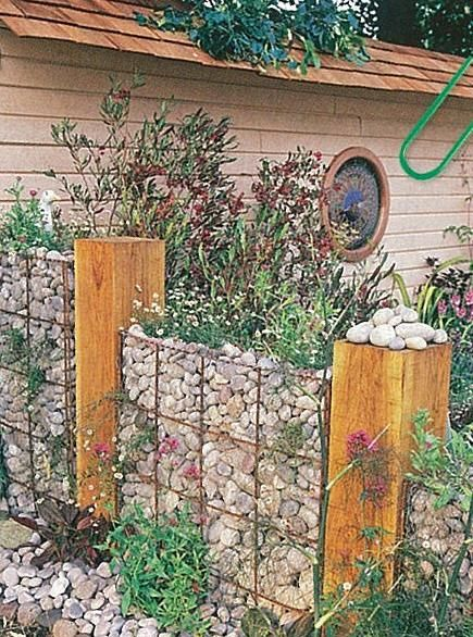Gabion retaining wall. This is what we do with all those rocks that get unearthed.