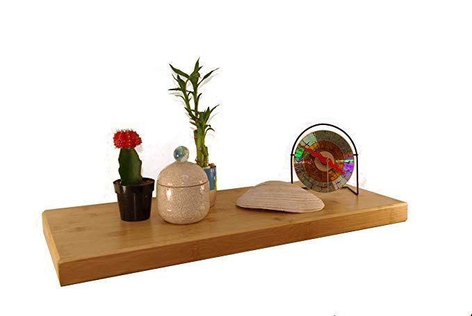 Pyllo Bamboo Floating Shelf Wall Shelves With Hidden Wall Mounted