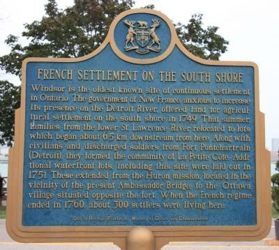 French Settlement on the South Shore Marker - English. Click for full size.