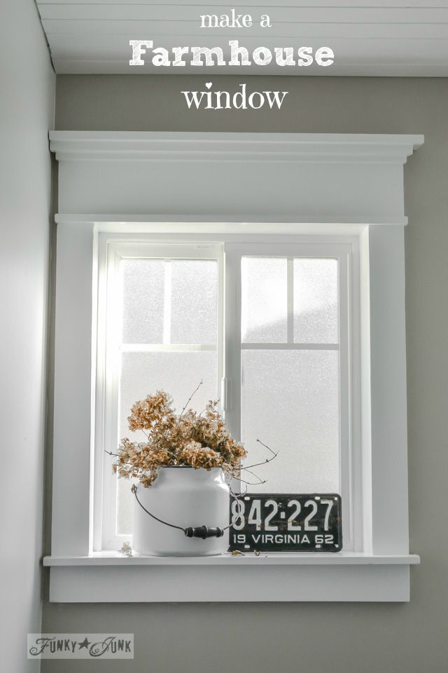 Make a farmhouse window - add window trim to beef up a plain window with no miter cuts in sight! Made from a plain, modern window via www.funkyjunkinte...