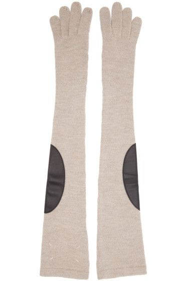 Maison Margiela - Gants longs beiges Gauge 7