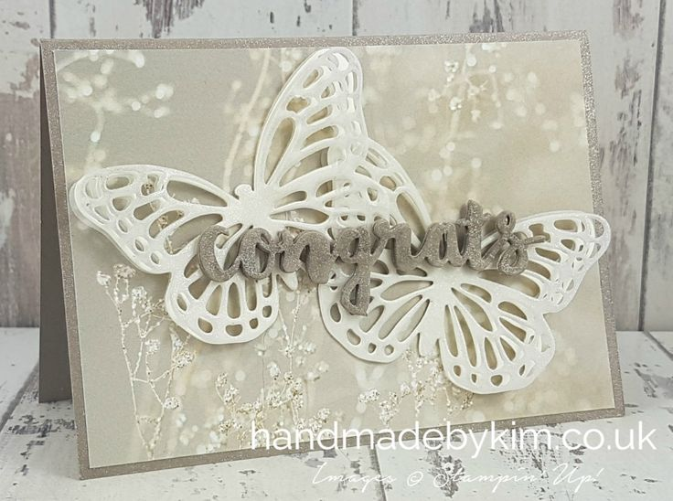 Top Ten Winners Blog Hop hosted by Kylie Bertucci. Stampin' Up! demonstrator Kim Price from Somerset, UK. Congratulations on your wedding card using Falling in Love DSP, Butterflies Thinlit Dies and Sunshine Wishes Thinlit Dies