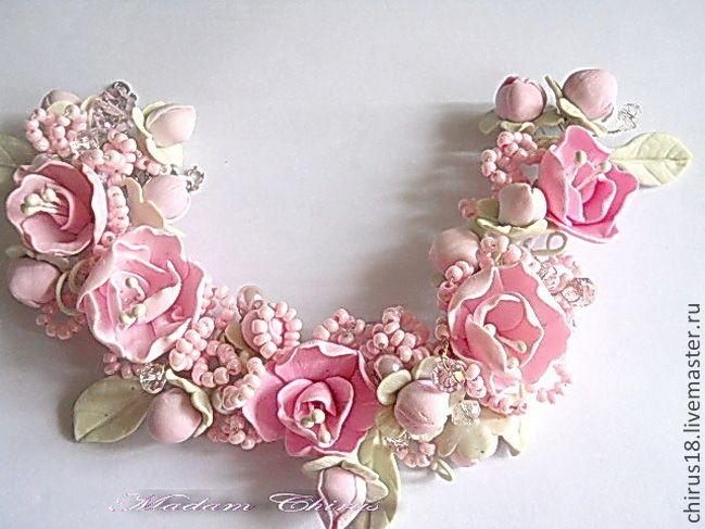 Купить Свадебный браслет с нежными бутонами - розовый, свадебный браслет, купить браслет, подарок на свадьбу