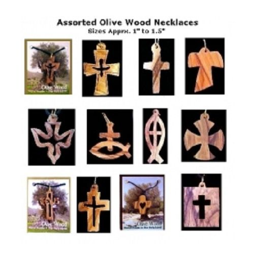"""A unique set of Twelve (12) assorted hand-carved OliveWood Necklaces  Hangs on black lace cord.  Every necklace is Individually packed with a card: """"A Gift from the Holy Land"""" You will love these beautifully designed hand carved OliveWood necklaces collection!  The beauty and fine craftsmanship of this exquisite treasure is captured in each and every piece. Ideal Giveaway Gift for  Retreats, Conferences, Schools, Church Members, Christening, Baptizing, Holidays."""