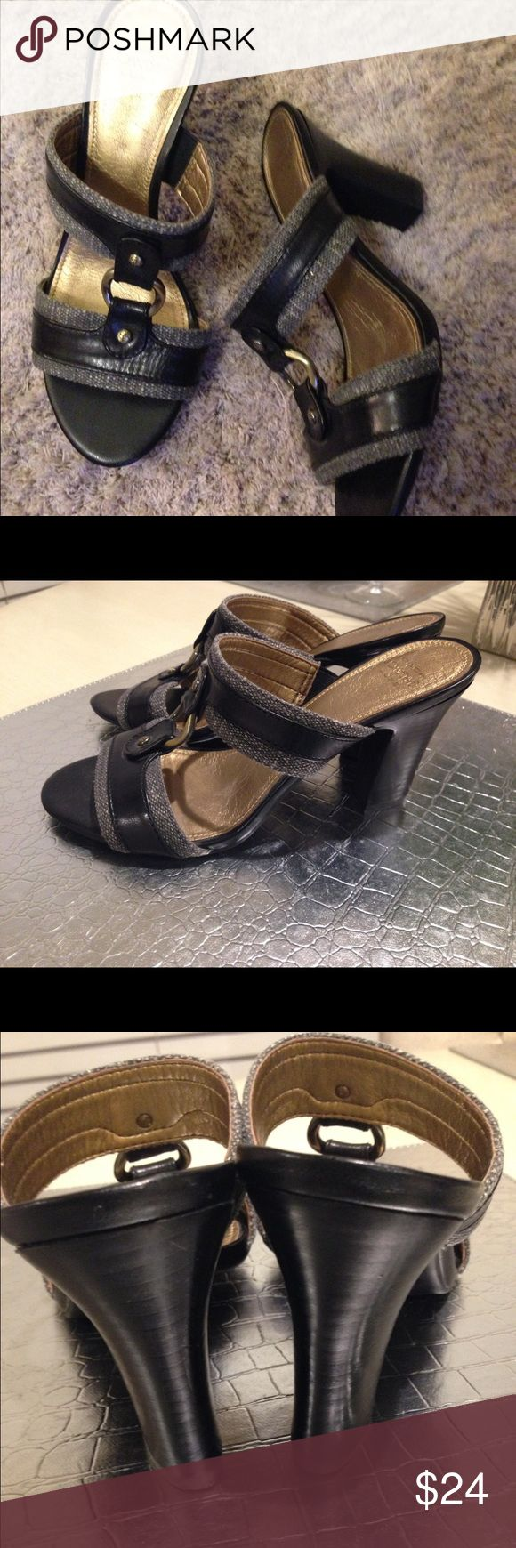 Circa Joan and David Luxe Black Tweed Sandals Chocolate brown leather and tweed with gold embellishments, wooden heel, size 6, great condition Joan & David Shoes Sandals