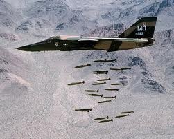F-111A (from Mountain Home AFB) releasing 24 Mk. 82 bombs