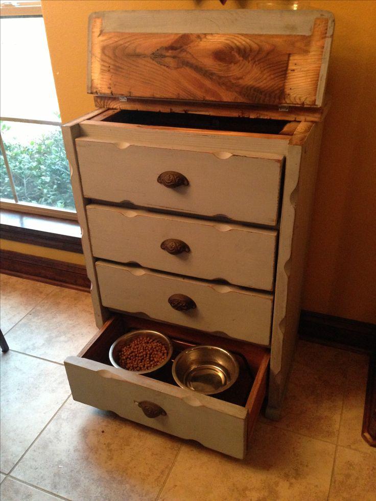 dresser converted to dog food storage feeder pet food. Black Bedroom Furniture Sets. Home Design Ideas