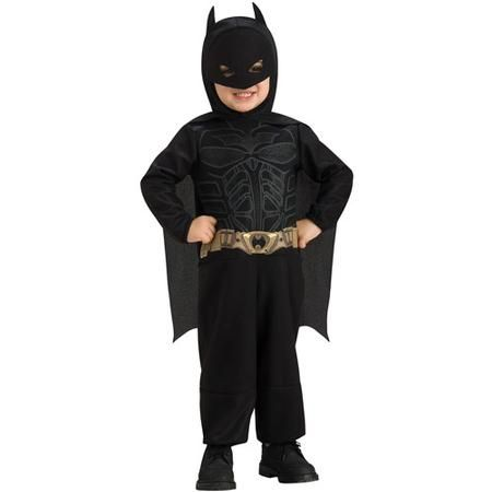 Let your little superhero be the mighty Dark Knight this Halloween with our Batman Costume for toddler boys. This toddler Batman Halloween costume offers a comfortable fit. Costume includes a black jumpsuit with armor and utility belt screen-print on the torso, a Batman mask/headpiece and cape. The villains better run and hide, Batman is here to save the day!