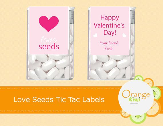 Love Seeds Tic Tac Labels Happy Valentine's Day Tic Tac