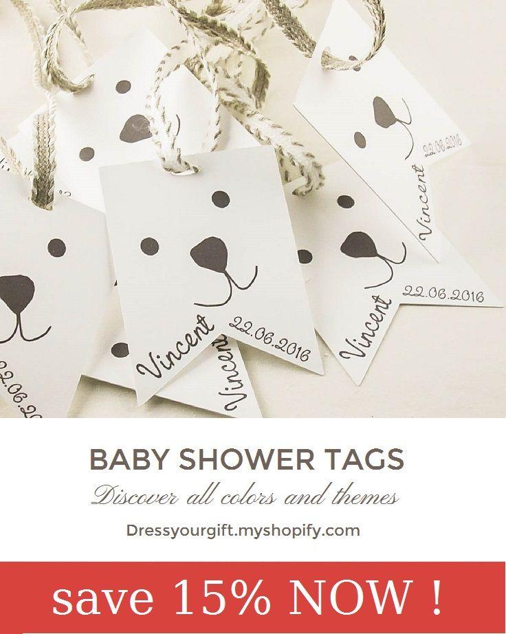 Set of 10 baby shower tags for favors with linen ribbon, bautizo etiquetas, taufe etikett,  etiquette bapteme #babyshowergifts #bautizo #bapteme