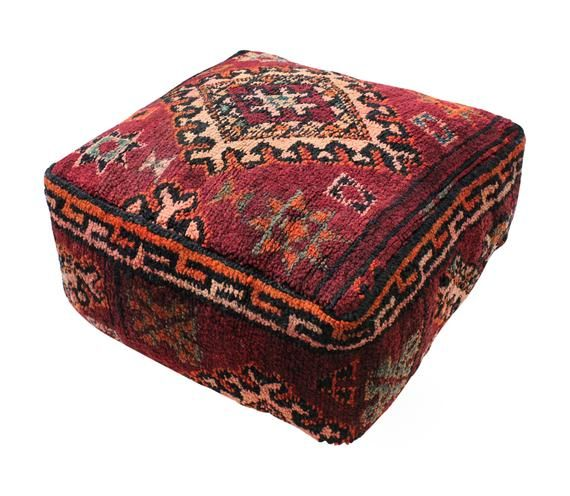 """Moroccan Rug Carpet Pouf Pouffe Footrest Footstool XL Floor Cushion Pillow Cover Handmade in Morocco 65x65x25cm 25.6""""x 25.6""""x 10""""(KP201)"""