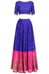 Blue and Rani Pink Ikat Print Gold Motifs Lehenga Set #tishasaksena #ethnic #shopnow #ppus #Happyshopping