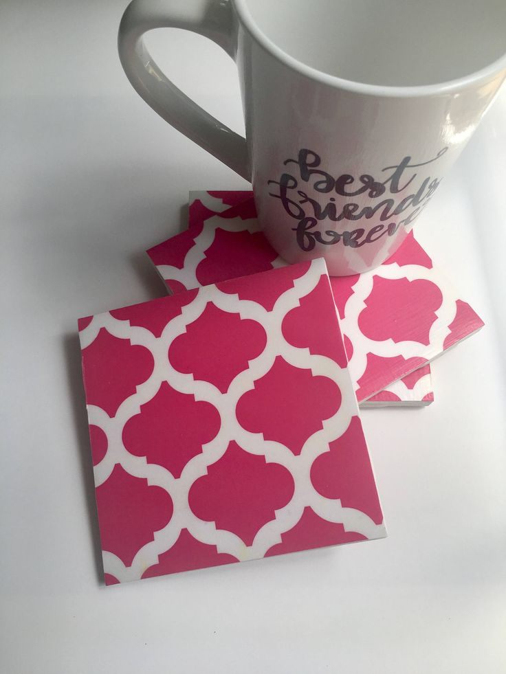 A personal favorite from my Etsy shop https://www.etsy.com/listing/463450368/hot-pink-scallop-coasters-modern-design