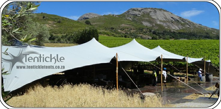 Large grey bedouin stretch tent in winelands