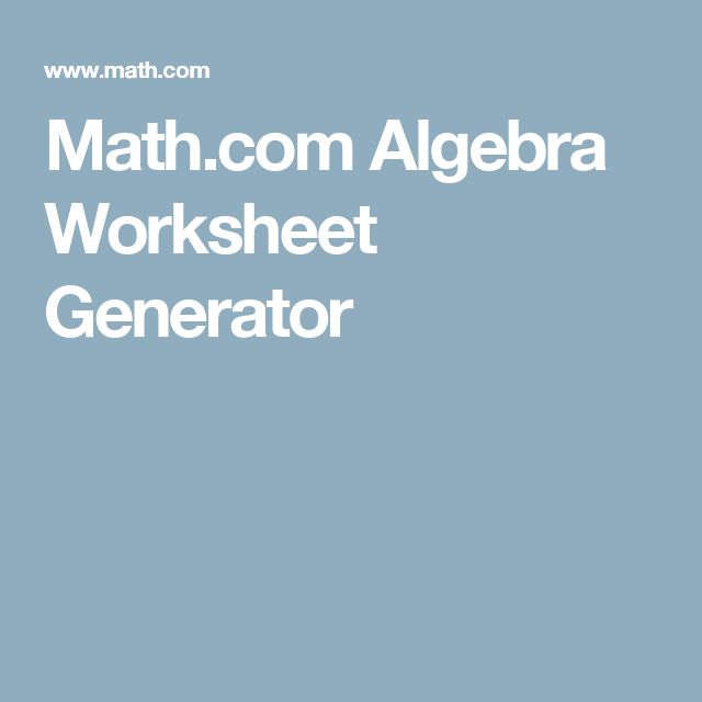 Algebra Worksheets Generator – Math Worksheet Generator Algebra