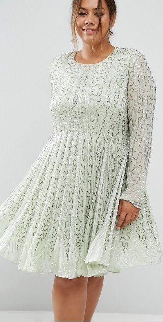 Plus Size Bugle Beaded Long Sleeve Skater Dress