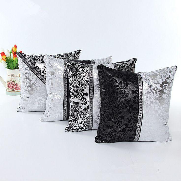 45 * 45cm style rétro housse de coussin en cuir taie d'oreiller de jet carré noir argent canapé d'imitation