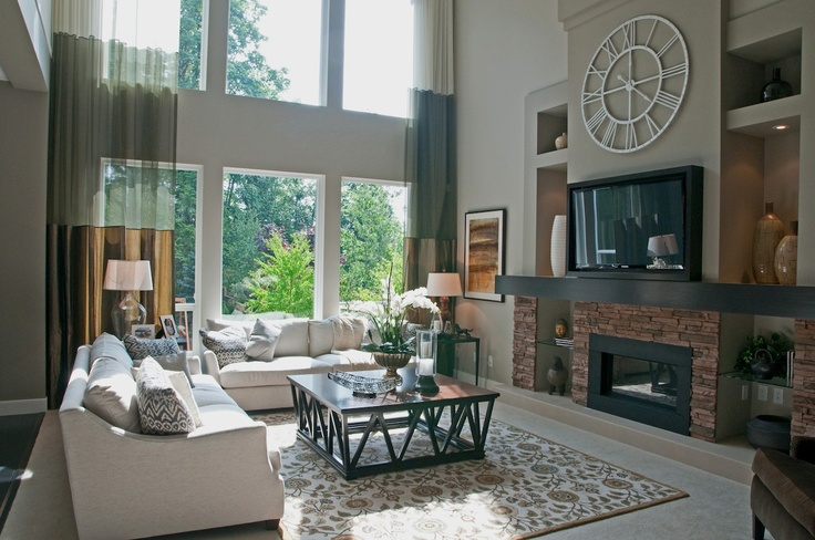 Inviting living room with brick fireplace feature wall
