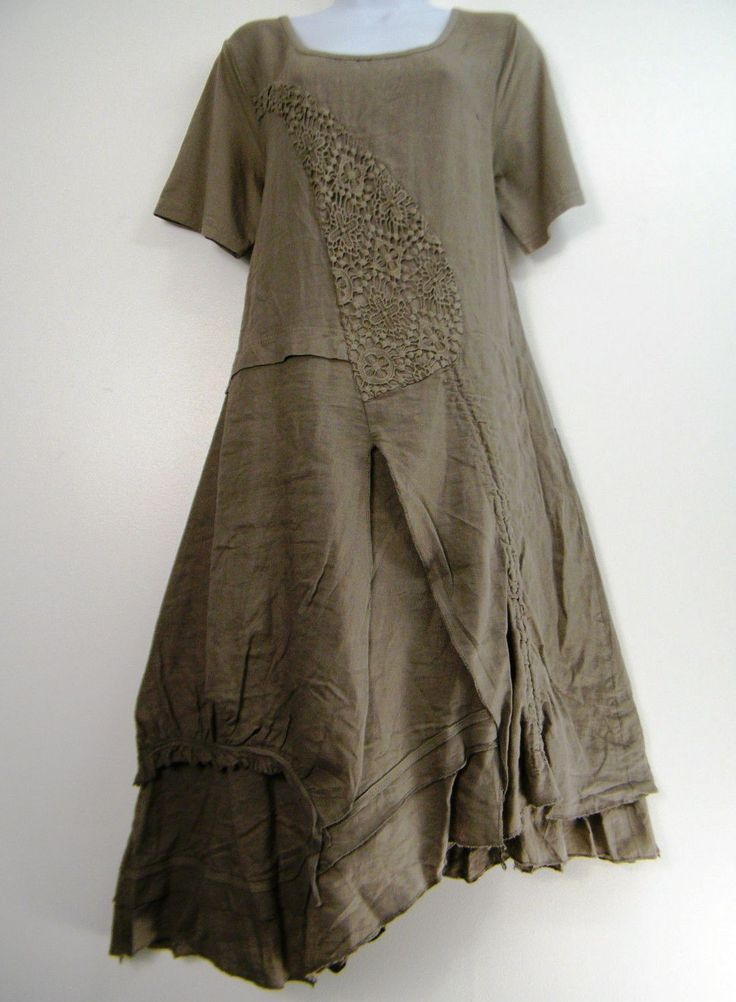 Lagenlook Quirky Layered Boho Taupe Linen Flax Dress Made in Italy 14 16 | eBay