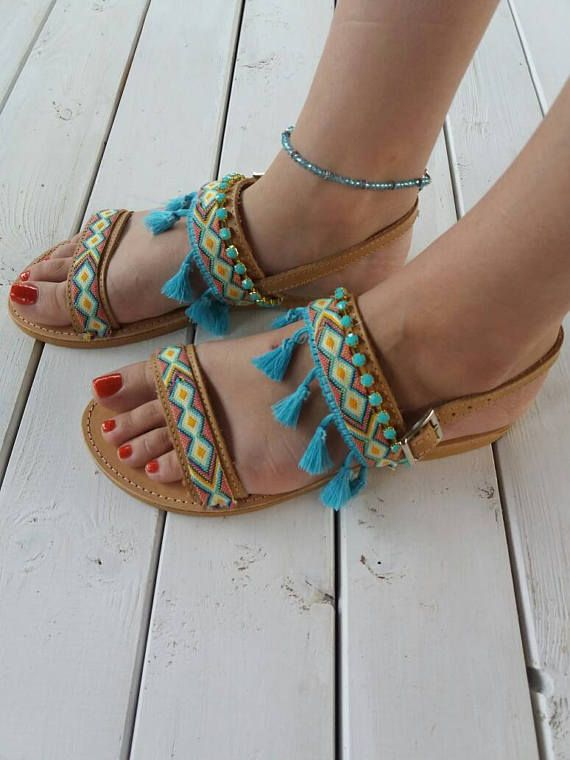 Bohemian sandals Dimitra Greek leather sandals