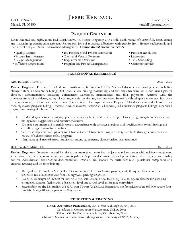 Project Engineer Resume Template Best Template Collection Sample Resumes Work Sample