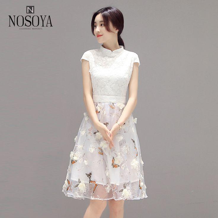 2017 women' summer pullover lace robe white short sleeve turtleneck knee  length mesh dress floral
