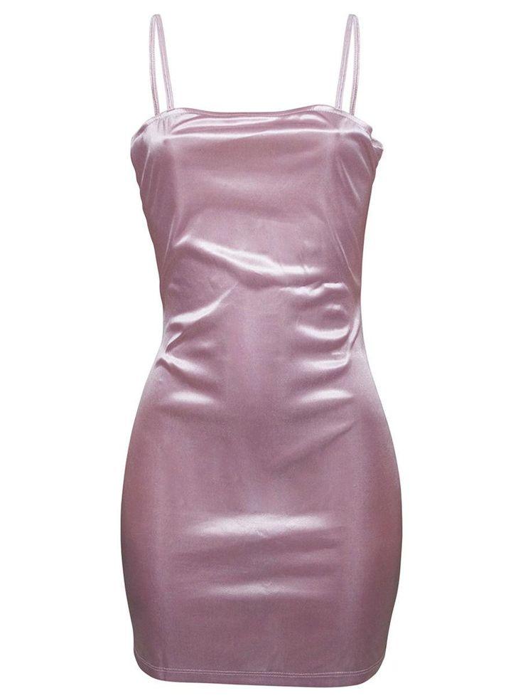 #AdoreWe #Fashionmia Fashionmia Spaghetti Strap Plain Mini Bodycon Dress - Adore... 7