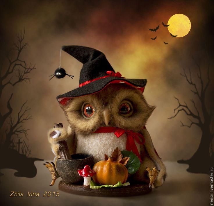 Купить Сова ведьмочка - бежевый, черный, красный, сова, совы, сова игрушка, совушка, совушки