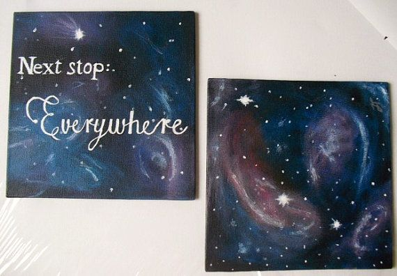 Next stop: Everywhere Doctor who inspired galaxy art, set of two 6x6 canvas paintings. Keep in mind that actual colours may vary slightlty from photos.
