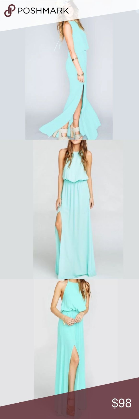 NWT Show Me Your Mumu Teal Halter Maxi Dress Gorgeous teal maxi halter maxi dress by Show Me Your Mumu. Has Slits on the side.   *100% Poly  *Ties at neck  *Elastic Waist  *Lined as a mini dress  *Mumu Bridesmaid dresses are standard 'long' bridesmaid length. They will fit most heights and heels, and are meant to be tailored to any length.   There may be a slight variance to color in person due to screen resolution. Show Me Your MuMu Dresses Maxi