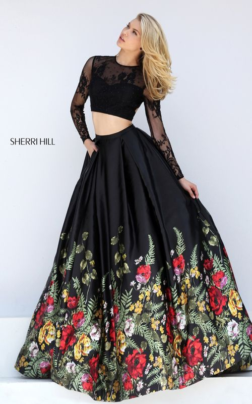 A Line Print Sherri Hill 50599 Two Piece Evening Gown