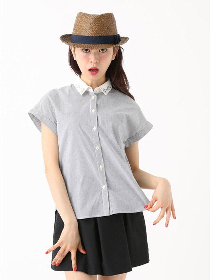 アースミュージック&エコロジー earth music&ecology 襟ビジューフレンチスリーブシャツ French Sleeve Shirt  on Shopstyle.co.jp