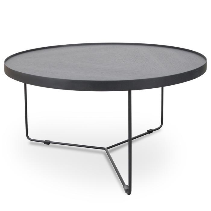 Luna 90cm Round Coffee Table Black Oak Top Black Frame Round Coffee Table Extra Large Coffee Table Large Coffee Tables