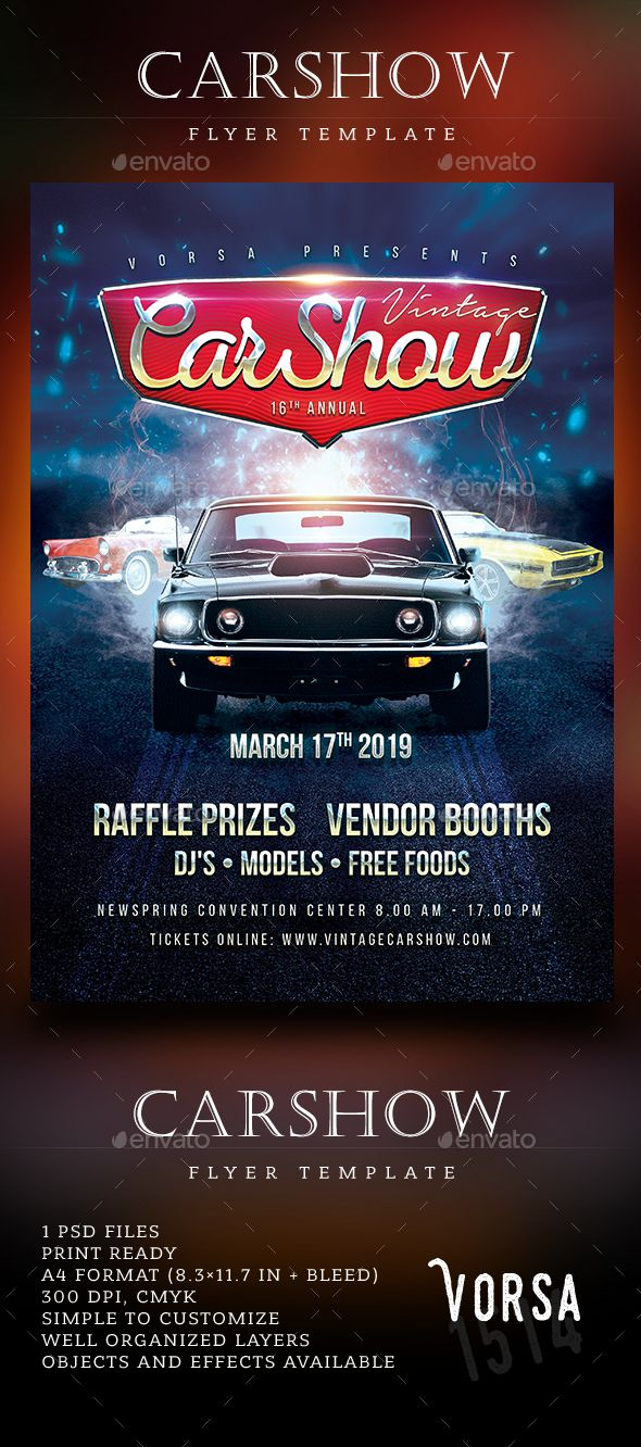 Free Car Show Party Psd Flyer Template Flyer Template Free Psd