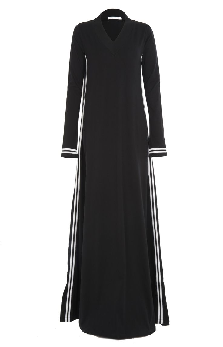 When you're on the go, slip into Toshi Abaya, causal, easy going & comfortable, a casual yet chic sporty style Abaya made from 100% Cotton Jersey, ribbed V neck and cuffs for added comfort.