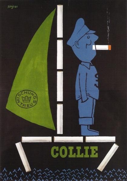 Collie cigarettes ad by Raymond Savignac, 1952