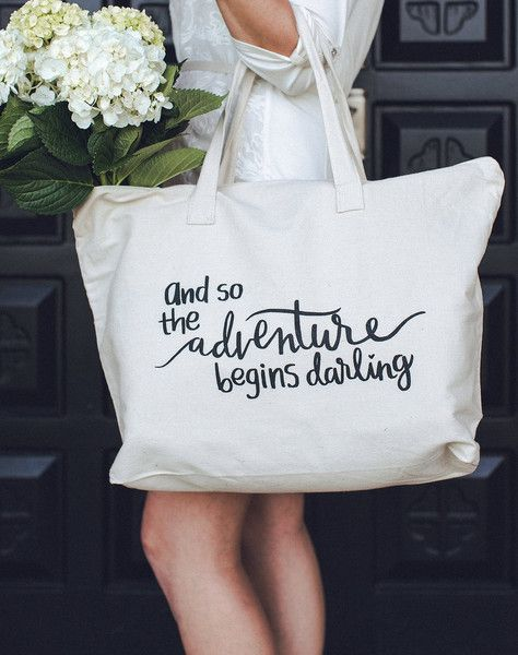 The Adventure Begins Cotton Canvas XL Tote Bag - GoGetGlam - 1